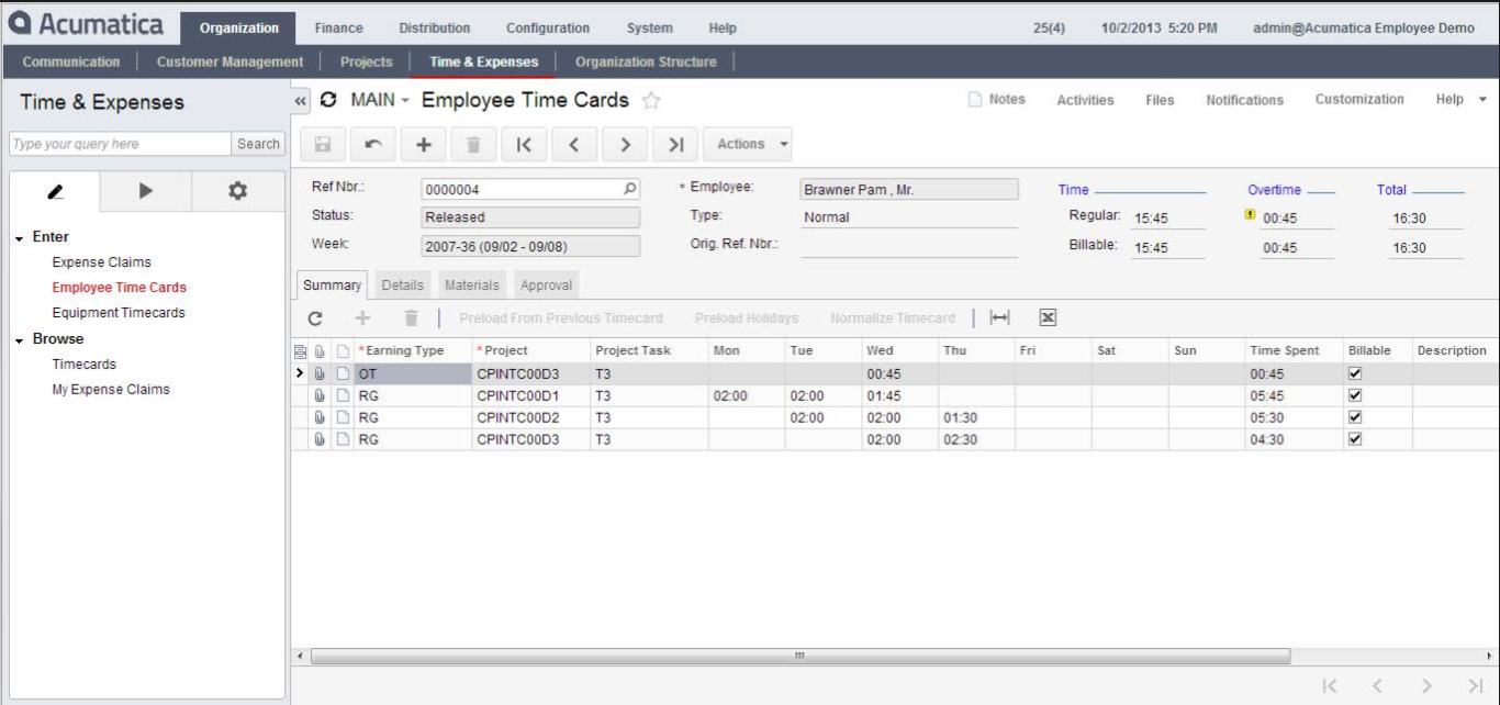 Acumatica Cloud ERP Accounting Software Products - Financial Management Suite - Employee Portal
